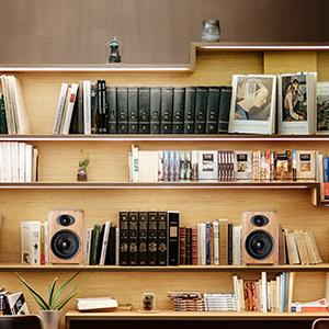 put on bookshelf