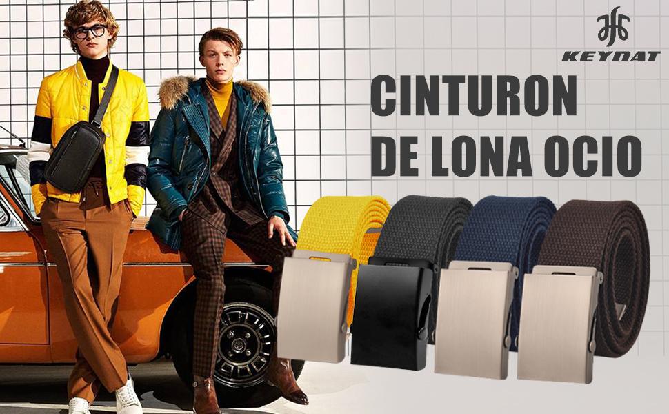 KEYNAT Cintur/ón Lona Ocasional Todo-F/ósforo Correa Hombres