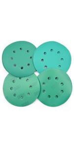 5 Inch 8 Holes Green Sanding Discs, 20 Pack