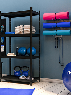 yoga mat foam roller black wall mount storage rack towel rack thin yoga mat metal shelving unit