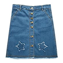 UNACOO Girls Botton Front Cut-Off Denim Skirt A-line Short Jeans Skirt