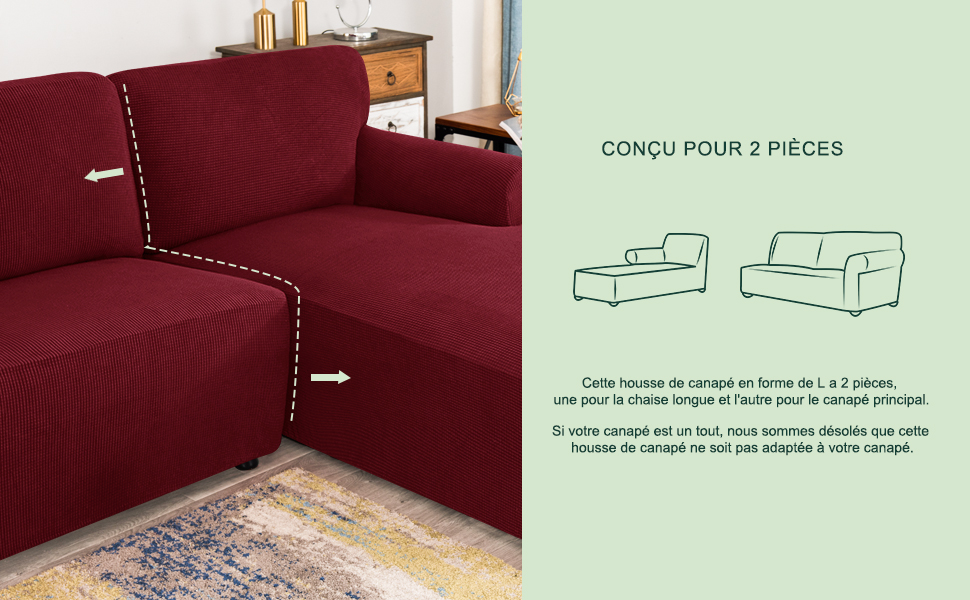 CHUN YI Jacquard Housse de Canap/é dangle Convertible Tissu Polyester Extensible Droite-2 Places, Bleu Jean