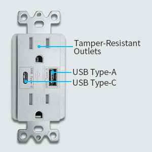 Outlet with usb c