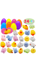 Classroom Prize Supplies JOYIN 48 Mochi Squishy Prefilled Easter Eggs; Kawaii Stress Reliever Squishies Toys Inside for Easter Theme Party Favor Basket Filler Easter Eggs Hunt