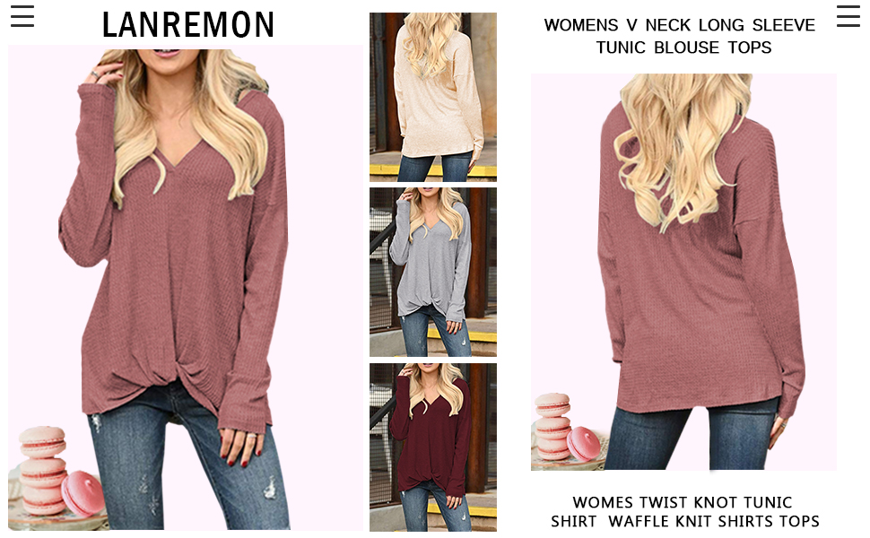 Women Long Sleeve V Neck Blouse T-Shirt Casual Solid Color Twist Knot Top Tunic