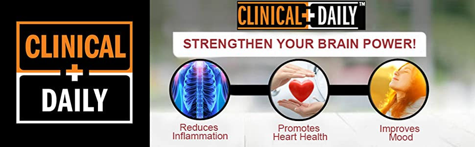 Clinical Daily Logo above images of benefits of Omega 3-6-9 DHA gummies