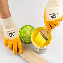 safety work gloves cotton nitrile coated Acktra