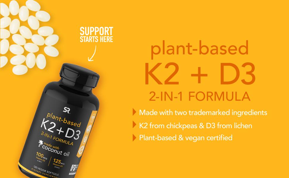 Vitamina k2 + d3, suporte imunológico, saúde óssea