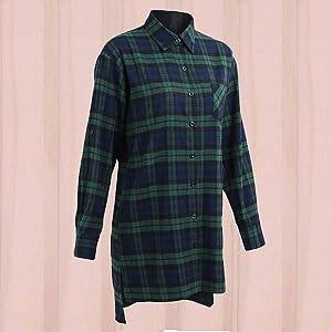 women long sleeve plaid shirt