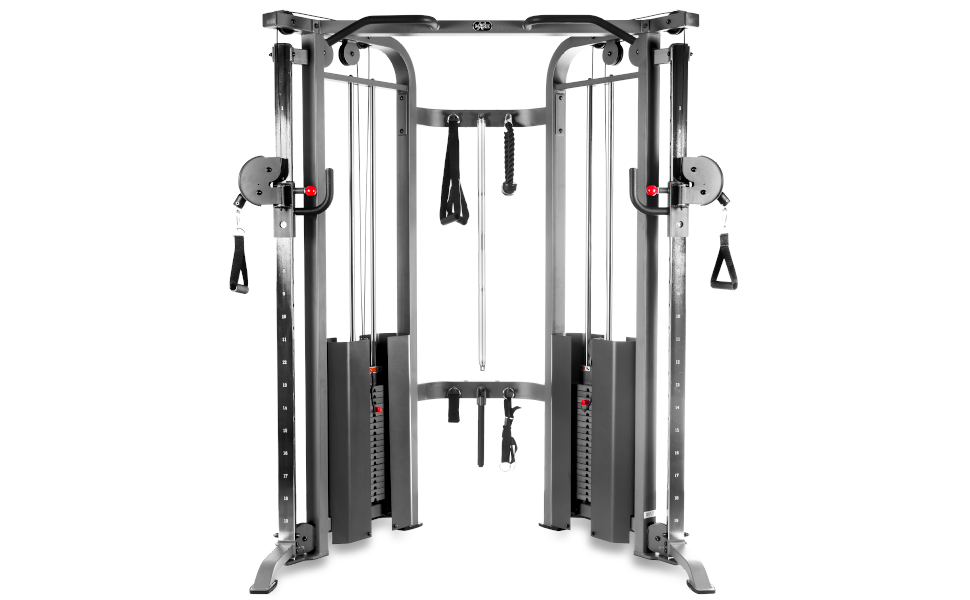 The XMark functional trainer cable machine with dual 200 lb weight stacks & accessories