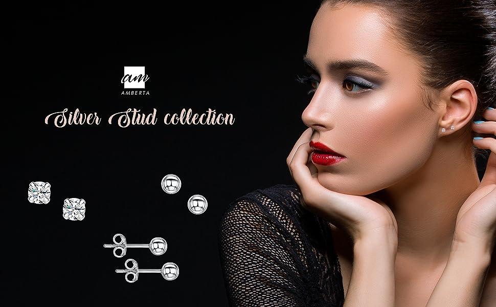 Amberta 925 Sterling Silver - Pairs of Earrings for Women - Ear Piercing Studs