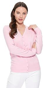 YEMAK Women's V-Neck Button Down Long Sleeve Soft Knit Cardigan Sweater MK5178