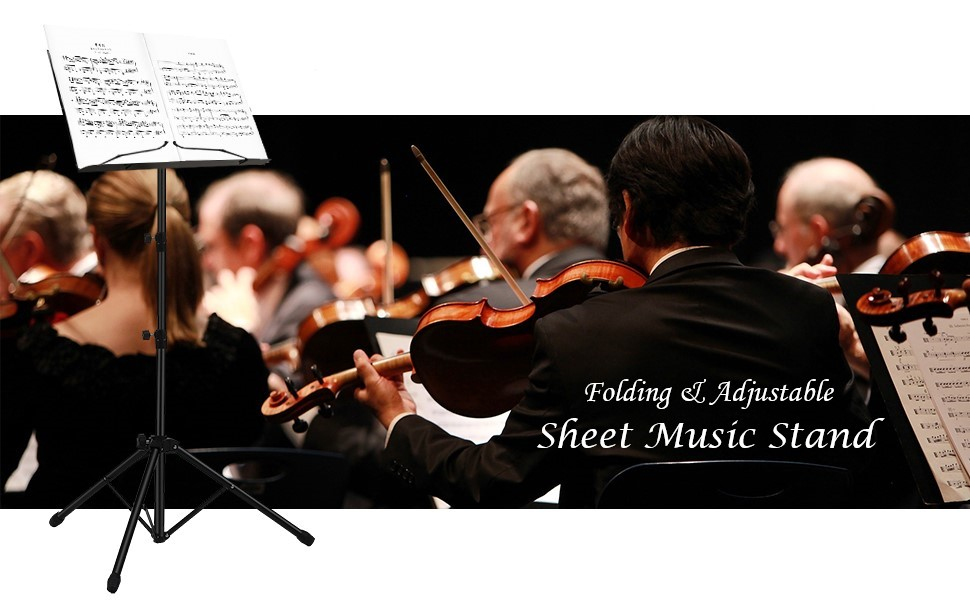 Black by Vangoa Portable Folding Professional Music Book Stand Holder Lightweight Adjustable Height Metal for Orchestra Performance Sheet Music Stand