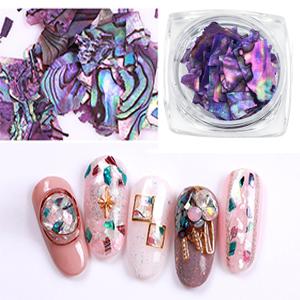 seashell nail art charms gems decorations  pieces sea shell flake glitter nail kit stickers 3d studs