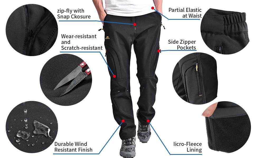 Women's Outdoor Fleece-Lined Windproof Waterproof Hiking Ski Pants, Soft Shell Insulated Trousers