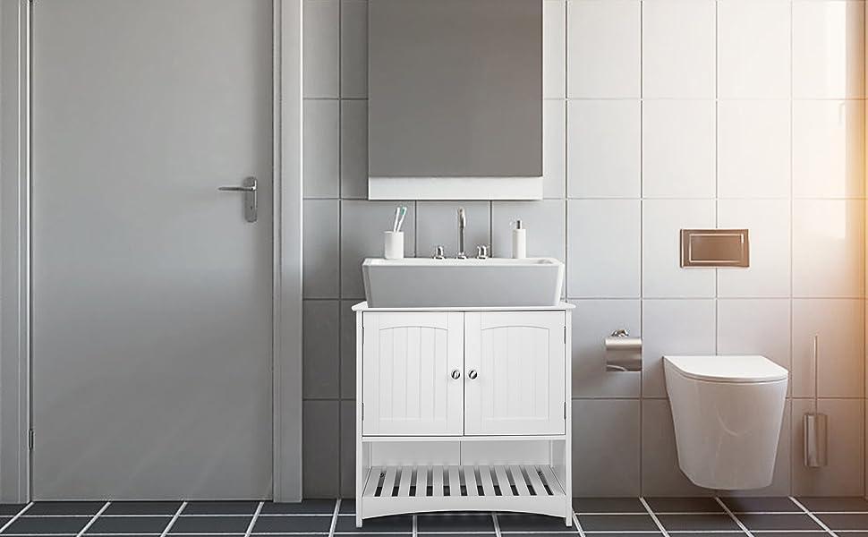 Eugad Under Sink Storage Bathroom Cabinet Cupboards Basin