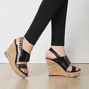 Allegra K Women's Wood Wedges Platform Wedge Sandals