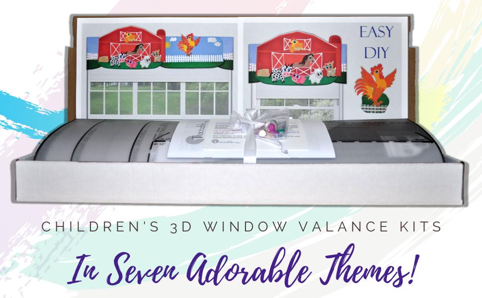 DIY children's room decorating kit window treatments valance wall decorations nursery bedroom