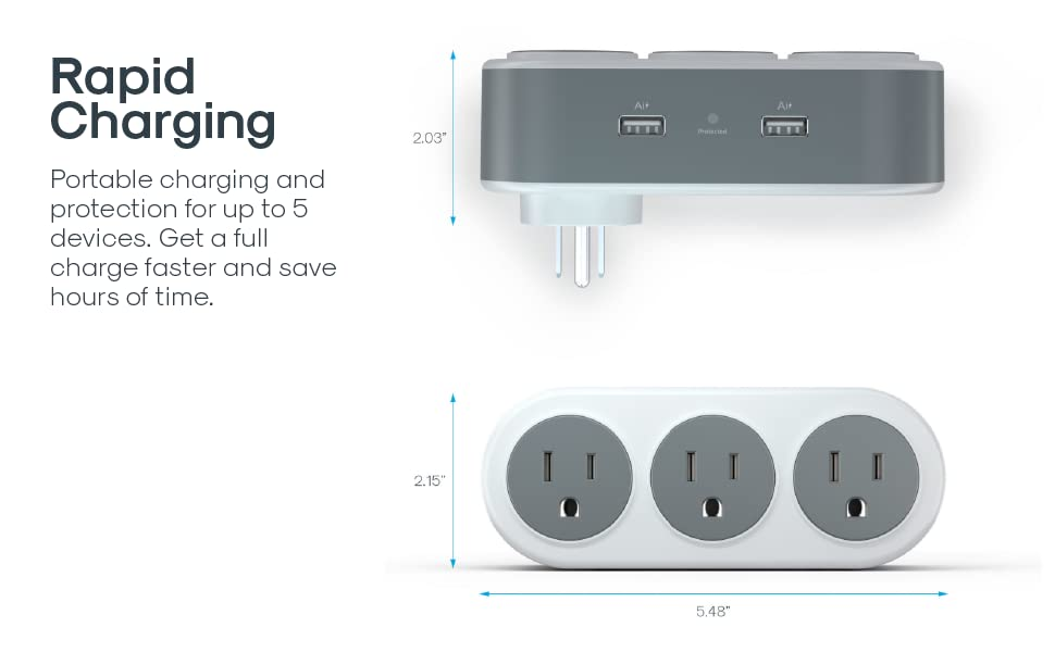 Rotating 3 Outlet Surge Protector
