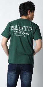 (リアルコンテンツ)REAL CONTENTS tシャツ メンズ おおきいサイズ ラグジュアリー スクリプト ロゴ プリント ブランドtシャツ rcst1203-20