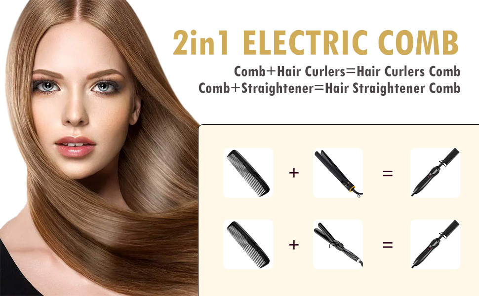 Hot Comb,Electric Heating Comb,Ceramic Comb Security Portable Curling Iron Heated Brush