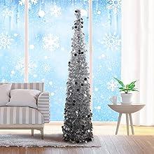artificial tinsel christmas tree