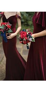 Navy blue amp; Burgundy Bridesmaid Bouquet Set
