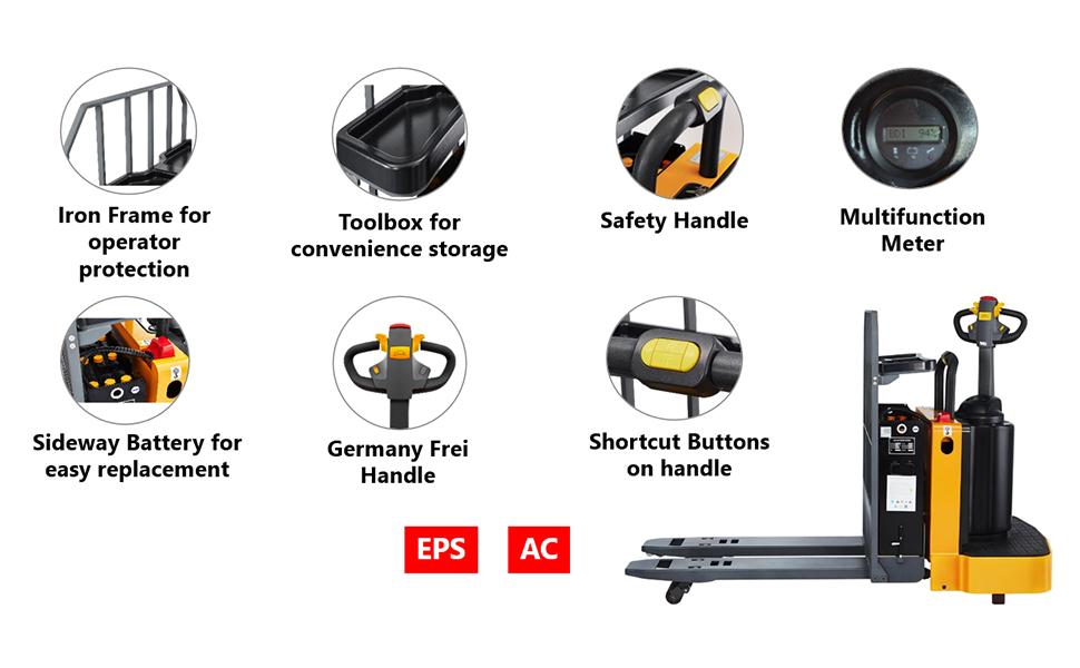 electric end control pallet jack pallet lift truck material handling
