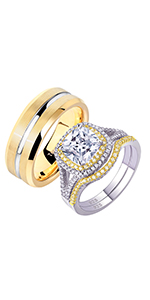 Newshe Wedding Rings Set for Him and Her Bands Silver Gold  TRX042+QR5841