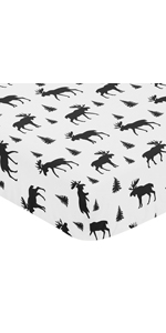 Black and White Woodland Moose Baby or Toddler Fitted Crib Sheet for Rustic Patch Collection