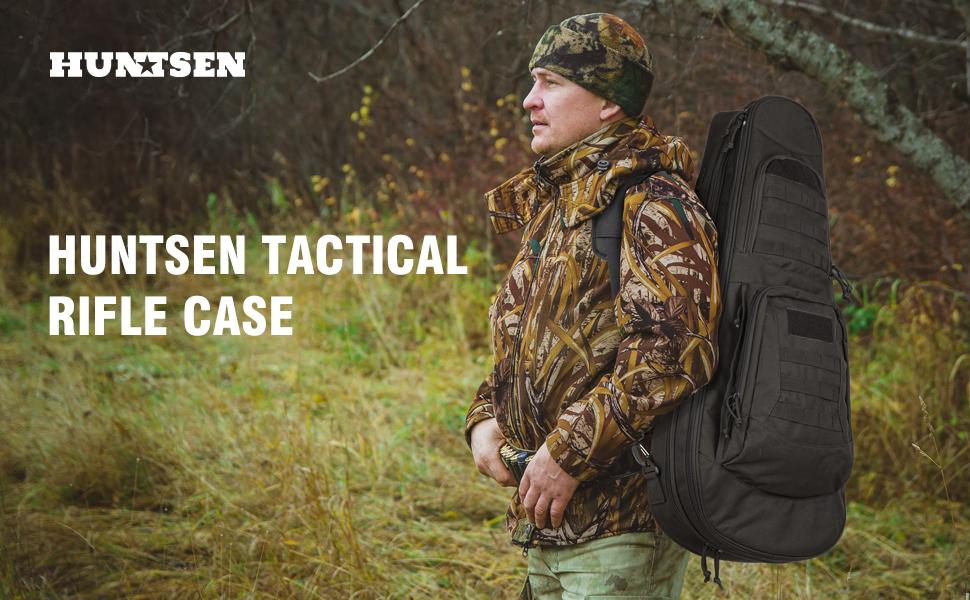 HUNTSEN Tactical Rifle Bag Backpack soft padded gun case 30inch 34inch