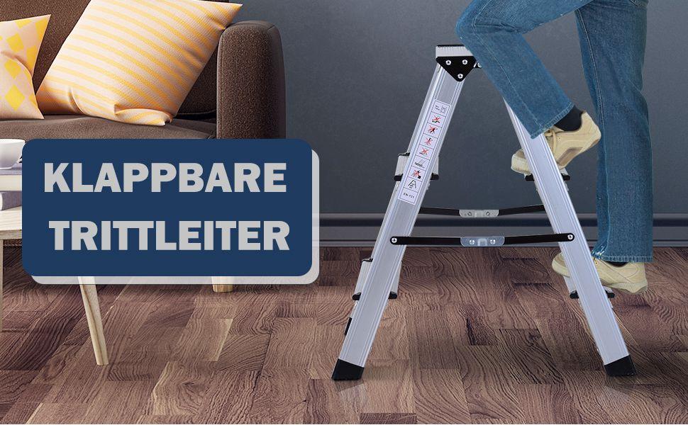Trittleiter Aluleiter Stehleiter Klapptritt Doppelleiter Haushaltsleiter Leiter Stufenleiter