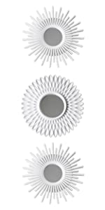 Pack of 3 white plastic mirrors with eyebolt to hang on the wall