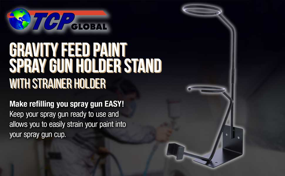 TCP Global Gravity Feed Paint Spray Gun Golder Stand