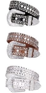 Rhinestone Belts for Women MenXZQTIVE Western Cowgirl Bling Studded Leather Belt for Jeans Pants