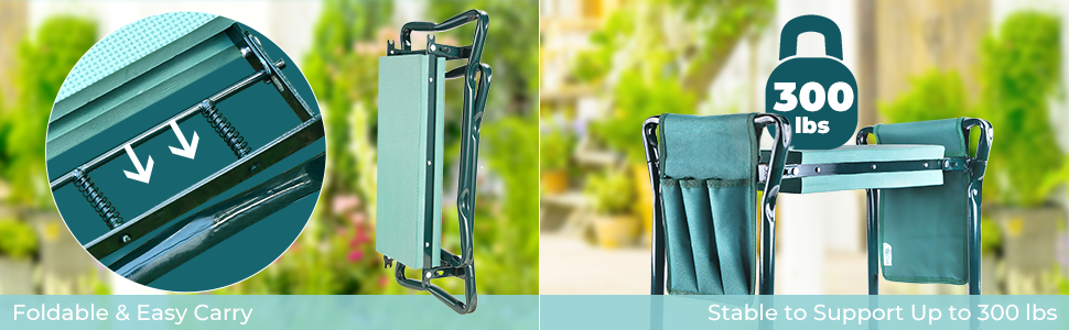 Garden Kneeler Seat Garden Bench Garden Stools Foldable Stool EVA Foam Pad Outdoor Portable Kneeler