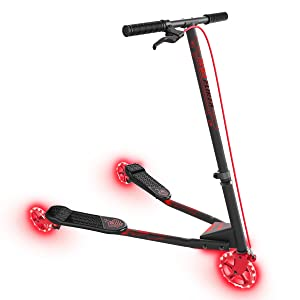 Yvolution Neon Fliker | Self Propelling LED Wiggle Scooter with Light Up Wheels for Kids Age +7