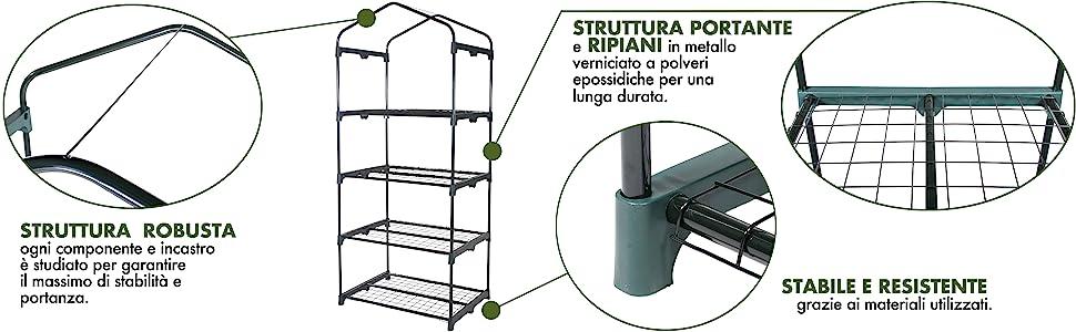 Verdelook, serra, 4 ripiani, struttura, robusta, ruote, ripiani, lunga durata, stabilità