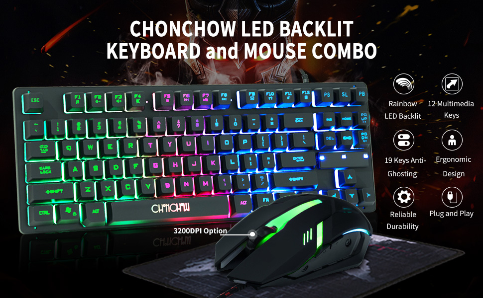 HLOIPYUR Keyboard Mouse Set 35 Keys Mini USB Wired 6 Button LED Optical Gaming Keyboard Mouse Combos for