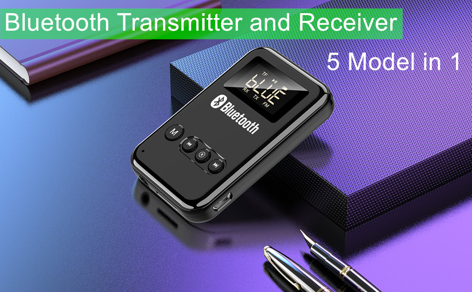 Bluetooth 5.0 Transmitter and Receiver TF Card Playback and Transmitting LED Digital Display 5 Model in 1 Low Latency Wireless Bluetooth 3.5mm Audio Receivers Adapters FM Transmitter for Car
