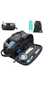 toiletry bag organizer make up kit dopp travel shower camp gym men women pu leather