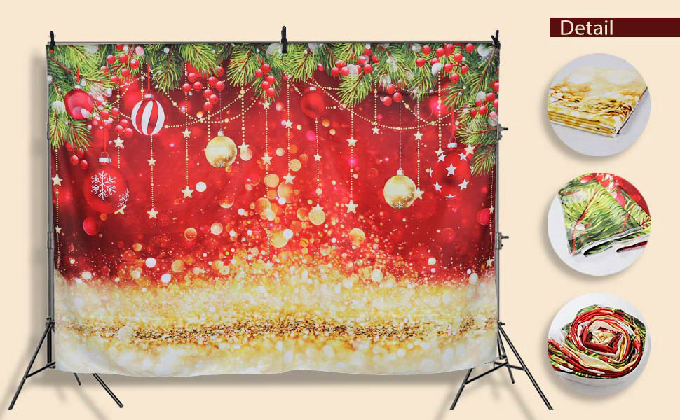 Funnytree 7x5ft Glitter Christmas Backdrop No Wrinkles Durable Red and Gold Winter Merry Xmas Family Party Background for Photography Sparkle Bokeh Decoration New Year Eve Banner Photo Booth Studio