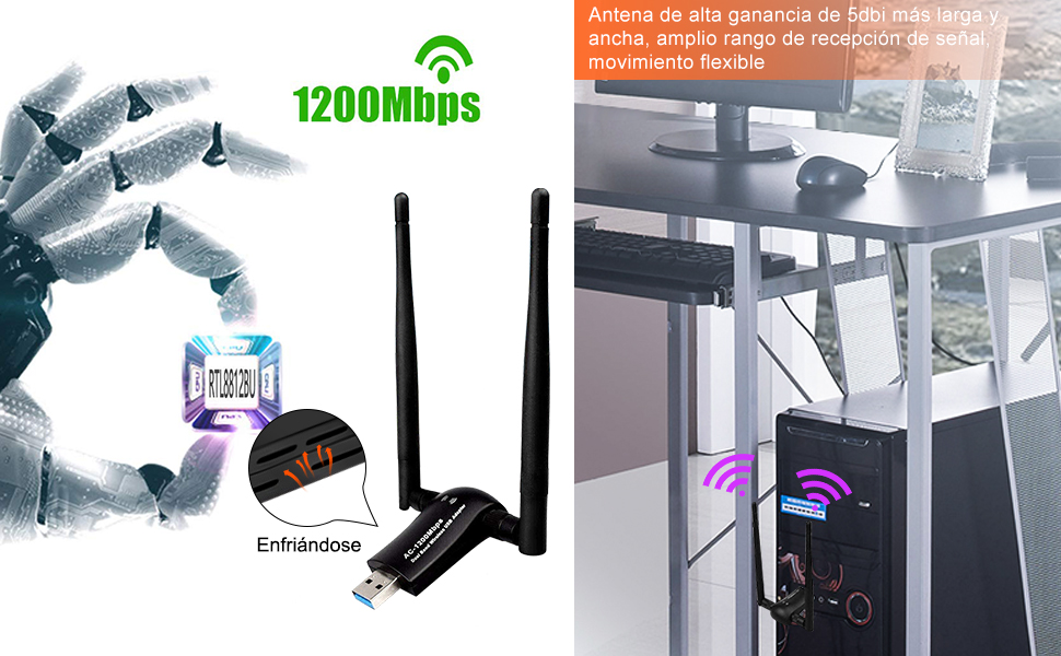 sumgott USB WiFi 1200Mbps Antena Adaptador WiFi USB 3.0 Dongle Inalámbrico 5dBi Dual Band AC Soporte de 5Ghz 867Mbps para PC con Windows XP/Vista / ...