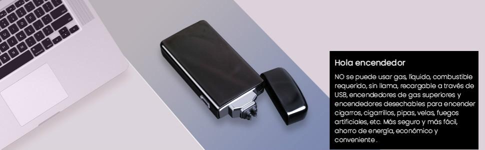 AngLink Mechero Eléctrico, Encendedor Electrico Doble Arco, USB Recargable sin Llama Resistente al Viento Plasma Encendedor con Cable USB y Caja de Regalo (Negro Brillante): Amazon.es: Hogar