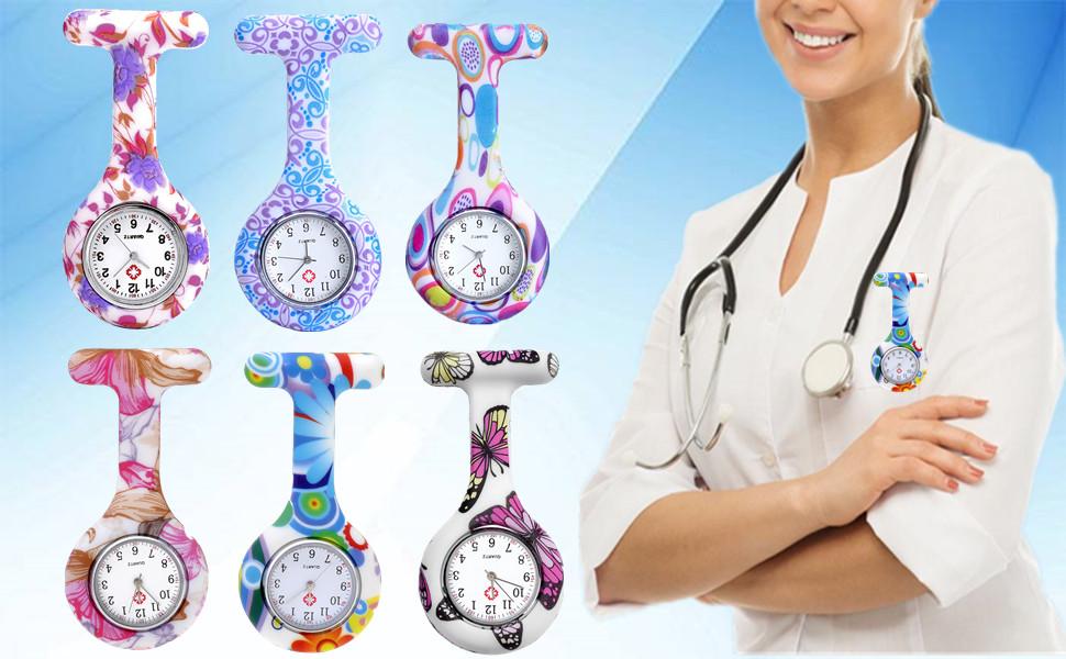 Yolandabecool Silikon Krankenschwester Taschenuhr Brosche Taschenuhr Arzt Paramedic Tunika Brosche