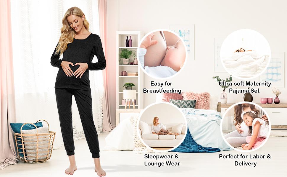 Maternity Pajama Set for Breastfeeding Nrsing Sleepwear Set for Women