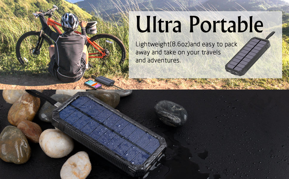 solar charger is suitable for outdoor camping, mountain climbing, long-distance travel