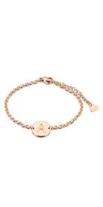 initial bracelet rose gold
