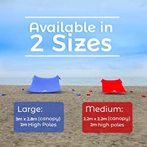 sizes of large and medium canopies