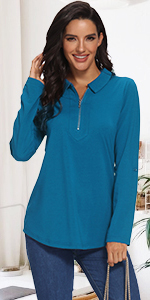 zip up collared neck roll up knit tunic shirts top blouses for legging for office
